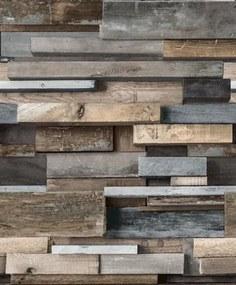 Vliesové tapety, drevený múr hnedo-modrý, Facade FC3003, GRANDECO, rozmer 10,05 m x 0,53 m