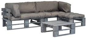 vidaXL 4-dielny záhradný paletový sedací set sivé vankúše sivé drevo