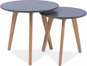 SIGNAL Milan S2 okrúhly konferenčný stolík (2 ks) sivá / dub