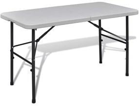 vidaXL Biely skladací záhradný stôl s doskou z HDPE 122 cm