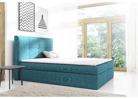 Čalúnené jednolôžko s úložným priestorom Olivio modrá 120 + topper zdarma