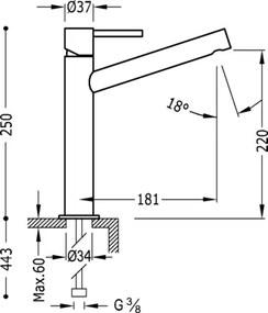 MAX-TRES Umývadlová jednopáková batéria dlhé ramienko (06220601)
