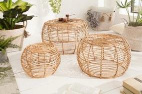 Sada 3 konferenčných stolíkov Bamboo Rattan
