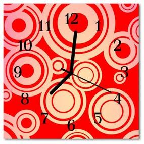 Sklenené hodiny štvorcové Červené kolieska 30x30 cm