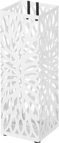 SONGMICS Stojan na dáždniky štvorcový biely motív kvety