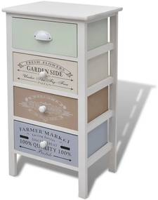 Skrinka vo francúzskom štýle shabby chic, 4 zásuvky, drevená
