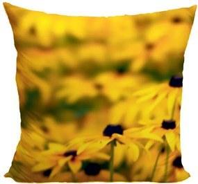 Vankúš Žlté kvety v poli (Veľkosť: 40 x 40 cm)
