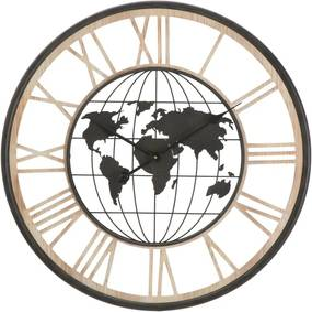 Čierne nástenné hodiny Mauro Ferretti World, ø 70 cm