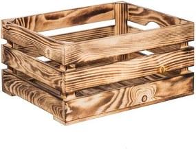 ČistéDrevo Opálená drevená debnička 40 x 30 x 20 cm