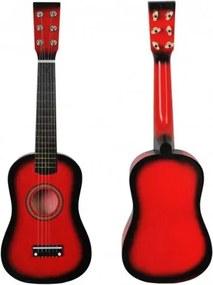 Detská drevená gitara 54cm Červená