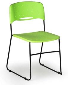 Plastová stolička Square, čierna/zelená
