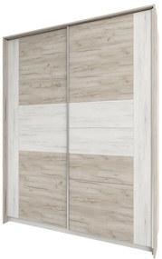 NABBI Malbo W-1800 šatníková skriňa s posuvnými dverami sivý dub craft / biely dub craft