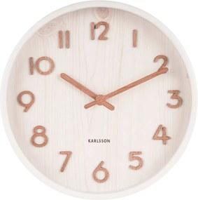 Biele nástenné hodiny z lipového dreva Karlsson Pure Small, ø 22 cm