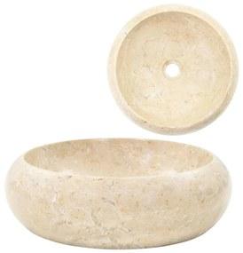 vidaXL Umývadlo 40x12 cm, mramor, krémové