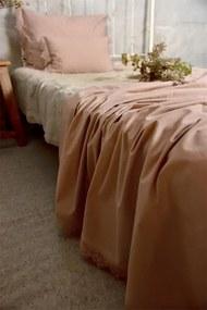 Jeanne d'Arc Living Bavlnený prehoz na posteľ Lace Old Rose 140 × 280 cm