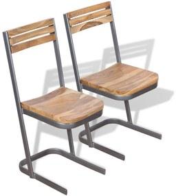 vidaXL Jedálenské stoličky, 2 ks, masívne teakové drevo