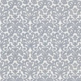 Vliesové tapety na stenu zámocký vzor sivý na bielom podklade 10m2 PROFI ROLL - dve rolky v jednej