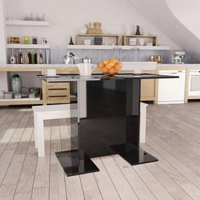 vidaXL Jedálenský stôl lesklý čierny 110x60x75 cm drevotrieska