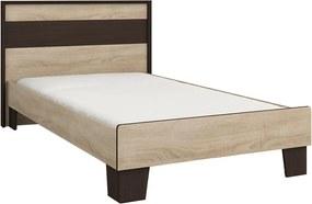 NABBI Seina 900 jednolôžková posteľ (váľanda) s roštom dub sonoma / wenge magic