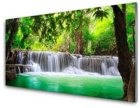 Sklenený obklad Do kuchyne Vodopád jazero les príroda 140x70cm