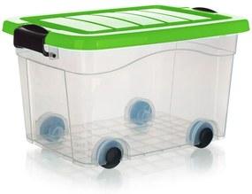 Box úložný na kolieskach PYRAMIDA, zelený 40 l