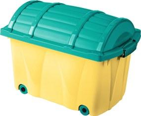 Keeeper Úložný box na kolieskach, 42 l - svetlo žltý