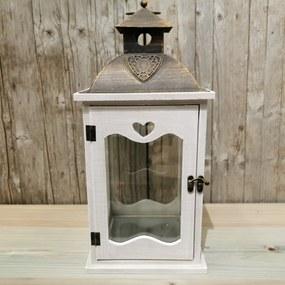 LAMPÁŠ so srdiečkom drevený KOV ANTIC biela patina 19,5X19,5X42,5cm