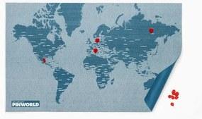 Modrá nástenná mapa Palomar Pin World, 126 × 68 cm