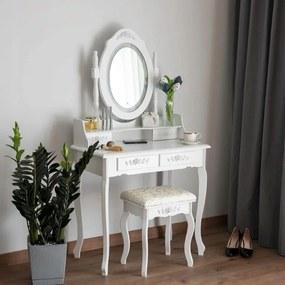 DomTextilu Vintage toaletný stolík s otočným zrkadlom s LED osvetlením 44987 Biela