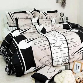 Obliečky bavlnené Splash čiernobiele Emi 1x Vankúš 90x70cm, 1x Paplón 140x200cm