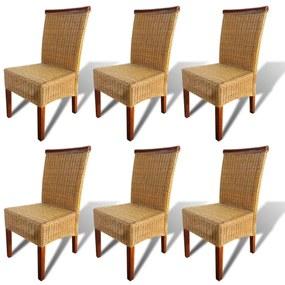 Ratanové jedálenské stoličky, 6 ks, hnedé