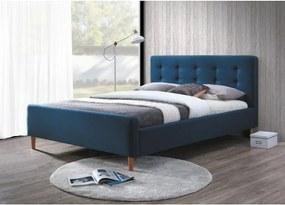 Čalúnená posteľ PINKO 160x200 cm modrá Matrac: Bez matrace