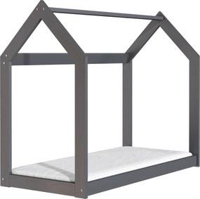 ČistéDrevo Drevená posteľ domček 160 x 80 cm šedá + rošt
