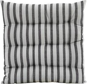 House Doctor Bavlnený sedák Stripe Black/Grey 35×35 cm