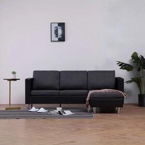 vidaXL 3-miestna pohovka s podložkami, čierna, umelá koža