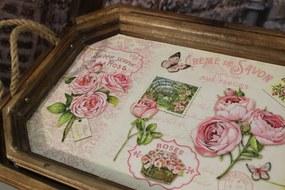 Ružové drevené shabby tácky 2-set