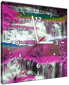 Obraz s hodinami Fialová kaskáda 30x30cm ZP1861A_1AI
