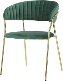 Smaragdovozelená stolička s konštrukciou v zlatej farbe Mauro Ferretti Poltrona