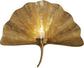 Nástenný svietnik v zlatej farbe Kare Design Ginkgo Leaf, 60 cm