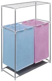Kôš na triedenie prádla s 2 priečinkami a policou