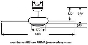 Stropný ventilátor s LED svietidlom FANTASIA PRIMA 117186