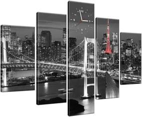 Obraz s hodinami Dúhový most Tokio 150x105cm ZP2390A_5H