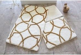 Sada 3 bielo-zlatých podložiek do kúpeľne Bonita