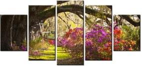 Tlačený obraz s hodinami Silné duby a kvety 150x70cm ZP1480A_5B