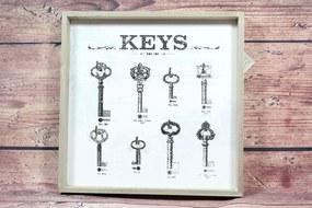 """Drevený stojan na kľúče """"KEYS"""" (31x31 cm)"""