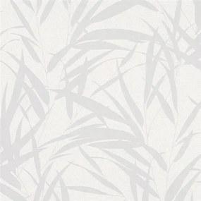 Vliesové tapety na stenu Ella 6753-10, bambusové listy strieborné na bielej textilnej štruktúre, rozmer 10,05 m x 0,53 m, Novamur 82051