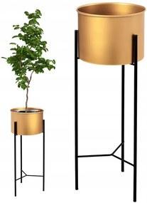 Stojan na kvetináč METAL zlatý - 40x15x15 cm