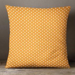 Goldea bavlnená obliečka na vankúš - vzor biele bodky na tmavo oranžovom 45 x 45 cm