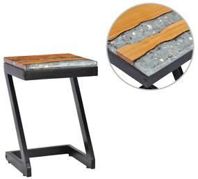 vidaXL Konferenčný stolík 30x30x50 cm, tíkový masív a polyresin