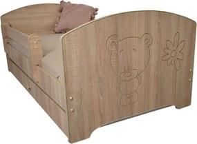 DO Detská posteľ Oskar X 160x80 - gravírovaný macík